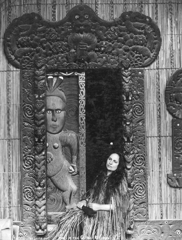 c. 1901-1910. Makareti (Maggie) Papakura at Te Taura meeting house, Whakarewarewa. Maggie later strove to break the colonial photography of 'dusky maiden' & 'south seas belle.' #Maori #Carving