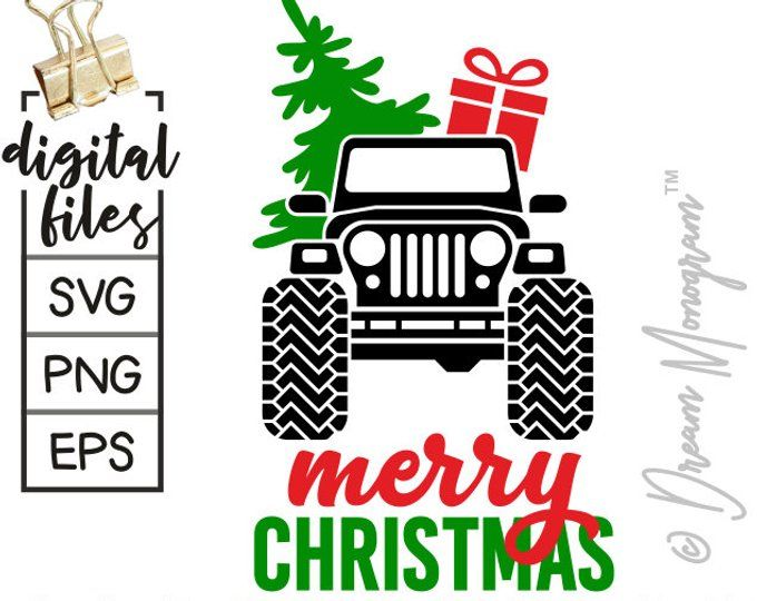 Christmas Jeep Silhouette.Jeep Svg Christmas Svg Christmas Tree Svg Red Truck