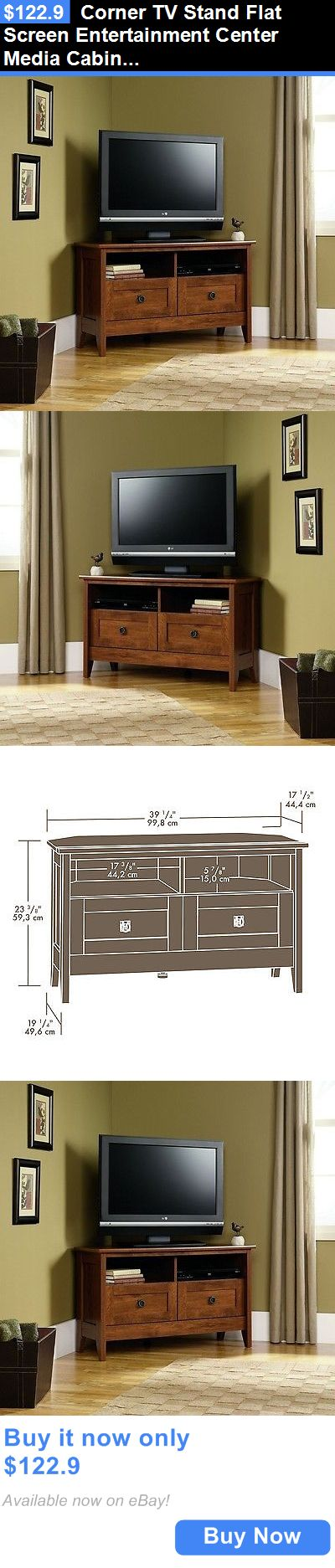 Entertainment Units TV Stands: Corner Tv Stand Flat Screen Entertainment Center Media Cabinet Oak Wood Console BUY IT NOW ONLY: $122.9