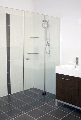 New ensuite shower screen would like to add floor grate as well