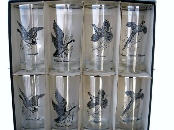 Federal Glass Barware Tumblers Mint in Box Geese Ducks Platinum Set by EclecticVintager, $45.00