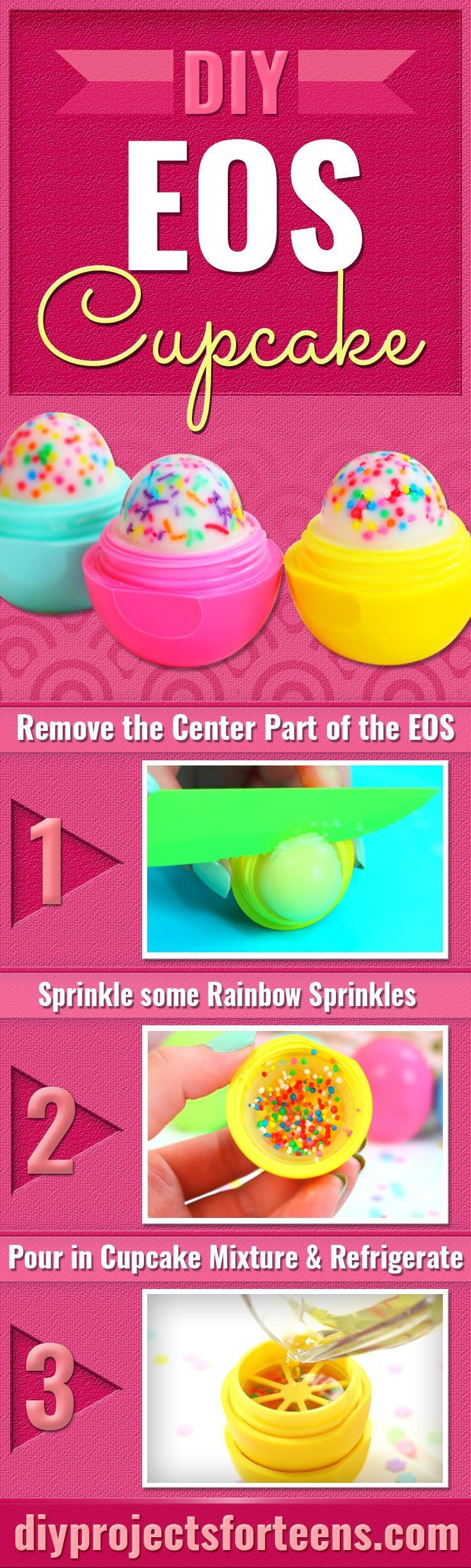 Cupcake EOS How To and Tutorial - Make Cool Homemade Lip Balm Containers for Your EOS - Easy DIY Cupcake Lip Balm With Sprinkles - Fun DIY Projects and Crafts for Teens, Teenagers, Tweens and Kids To Make A Home