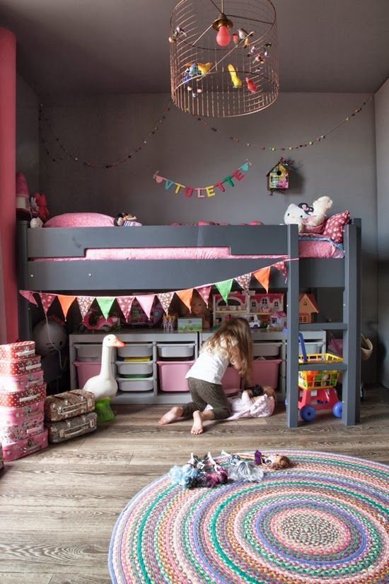 Gray and pink children's room. Love the contrast of the darker gray with the lighter colors.