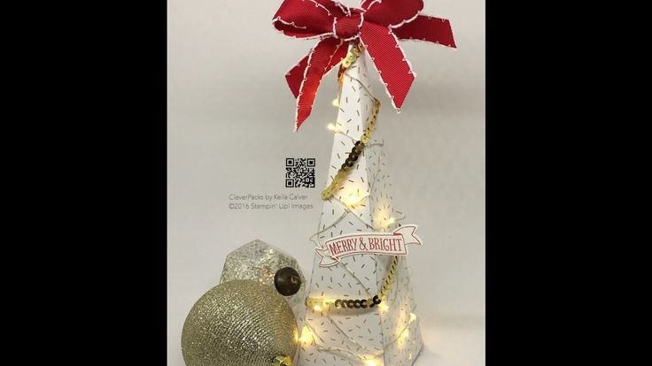 """19"" Sleeps Till Christmas - Mini Light Tree with Stampin' Up! Designer Series Paper"