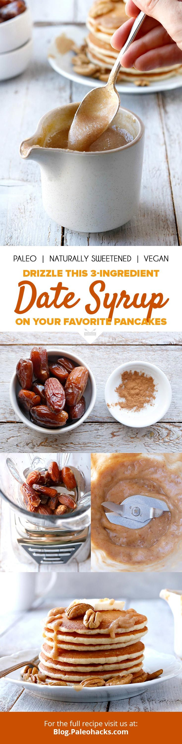Drizzle your favorite pancakes in this thick, 3-ingredient homemade date syrup! Get the full recipe here: http://paleo.co/datesyrup