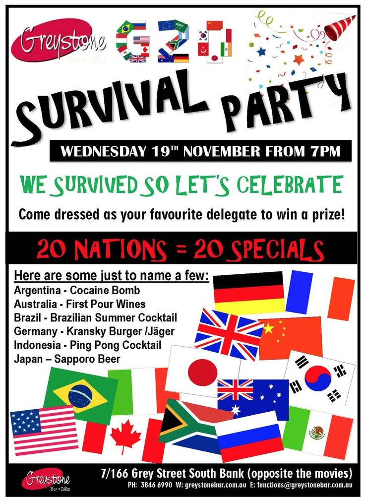 What a weekend! Southbank was alive with activity for the G20! Were you in town? Did you escape to the coast? Whatever you did, come in this Wednesday to celebrate surviving the G20 with us!