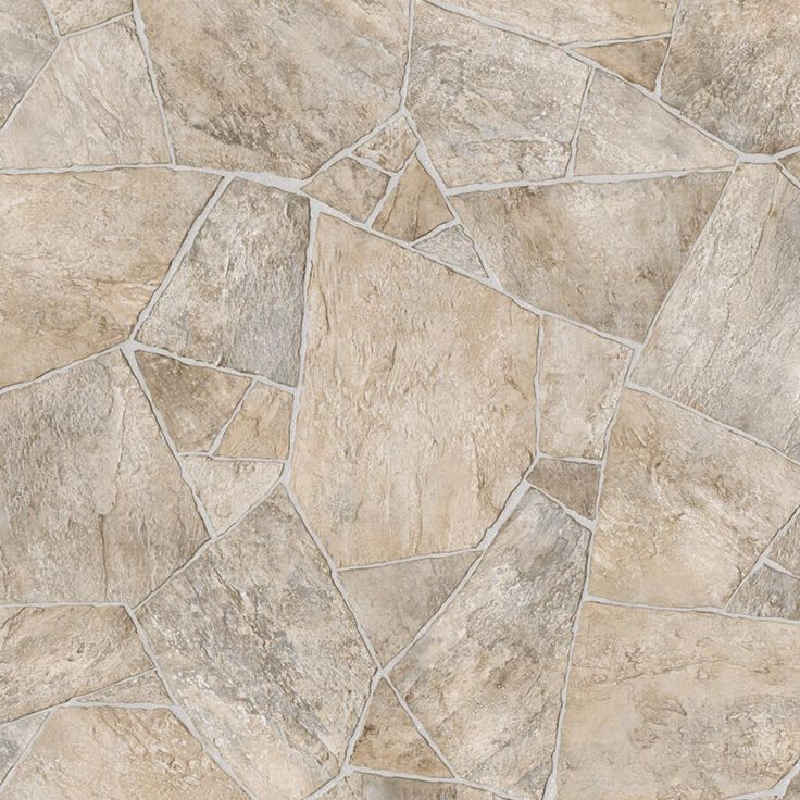 Broken Stone Beige 13.2 ft. Wide x Your Choice Length Residential Vinyl Sheet Flooring, Neutral Flagstone Finish