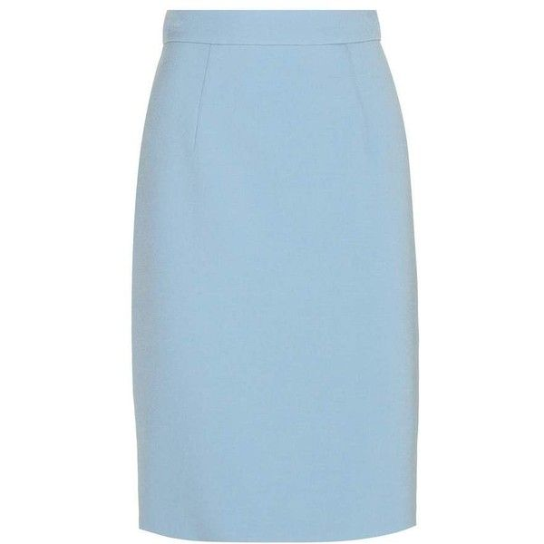Miu Miu Wool-Blend Pencil Skirt ($790) ❤ liked on Polyvore featuring skirts, blue, miu miu, wool blend skirt, blue skirt, pencil skirt and knee length pencil skirt