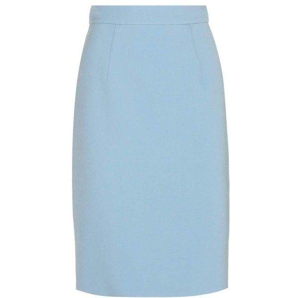 Miu Miu Wool-Blend Pencil Skirt (51.660 RUB) ❤ liked on Polyvore featuring skirts, bottoms, юбки, blue, miu miu, blue skirt, knee length pencil skirt, blue pencil skirt and wool blend skirt