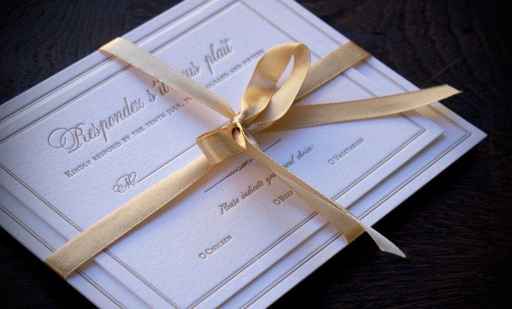 Gold letterpress invitation suite elegant sophisticated simple classy wedding invitation. Dandenongs wedding with gold ribbon