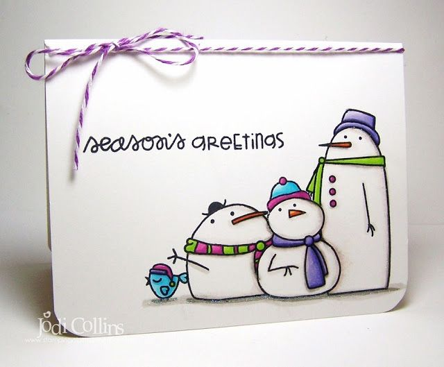 Season's Greetings card by Jodi Collins - Paper Smooches - Swanky Snowdudes