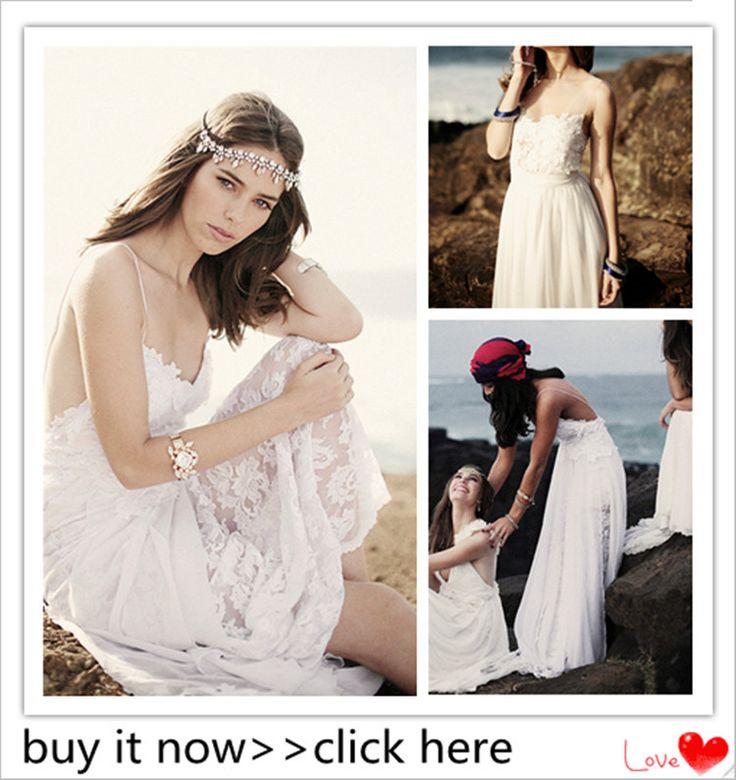 pas cher robes de mari e 2015 boh me sexy spaghetti robe de mari e en mousseline de soie plage. Black Bedroom Furniture Sets. Home Design Ideas
