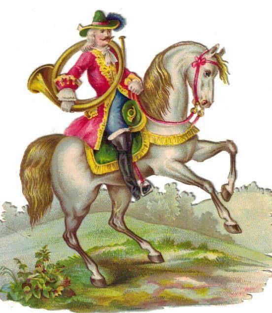 Victorian  Die Cut Scrap soldier on White Horse w French Horn c1880: