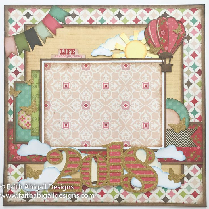 """Faith Abigail Designs - 2018 Cover Page 12""""x12"""" Single Page Scrapbook Layout"""