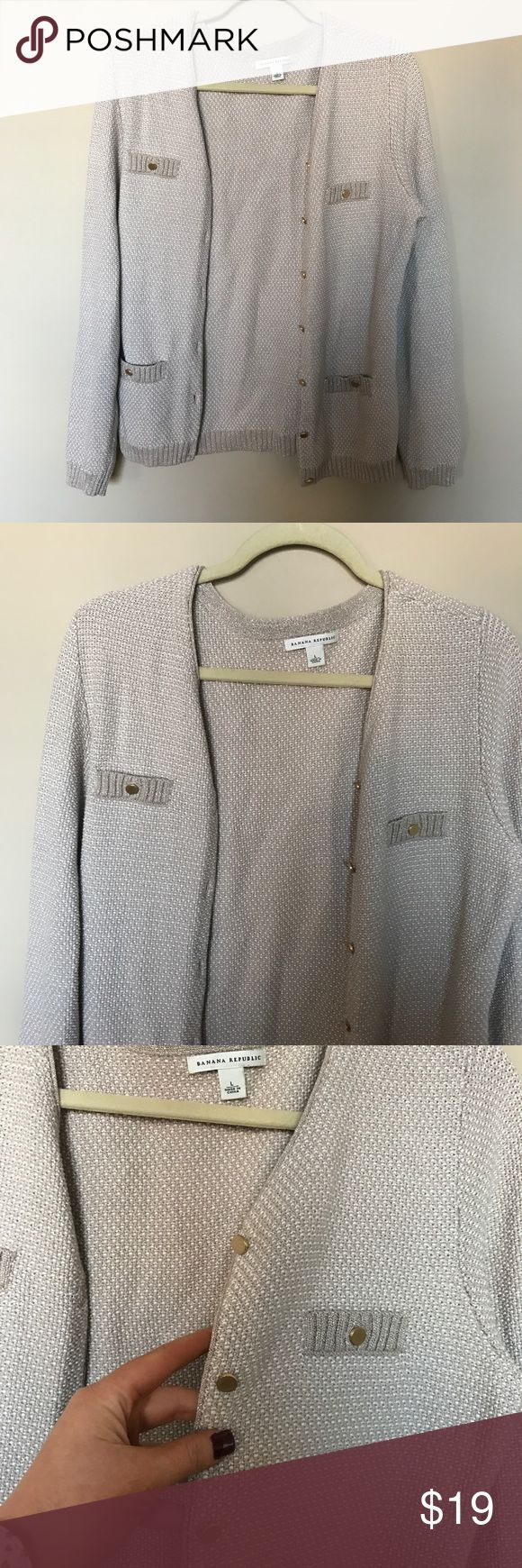 """[Banana Republic] Metallic Cardigan Size Large 27"""" long 21"""" armpit to armpit  26"""" sleeves   Small stain on inner sleeve (shown in photo) Banana Republic Sweaters Cardigans"""