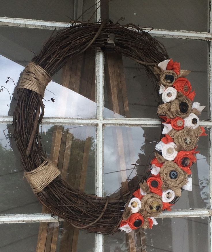"""18"""" grapevine wreath with fall colored burlap rosettes  #grapevine #wreath #buttons #fall"""