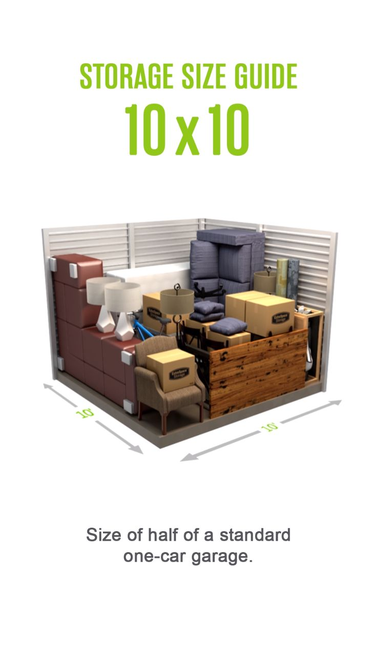 Selfstorage size guide for a 10x10 storage unit. Size of