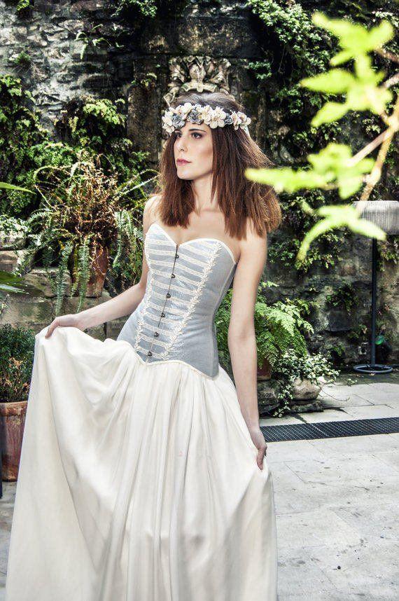 Boho wedding light blue cotton satin corset – Vintage wedding overbust corset – Boho chic bride – Modern bridal dress – Bohemian clothing – WEDDINGS ~ SHOWERS ~ PARTIES