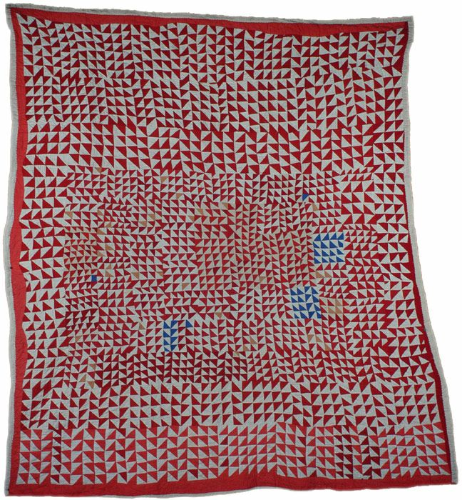 """AFRICAN AMERICAN QUILT Strip quilting, flying geese improvisation Cotton. Red, white, blue, salmon and beige  1st half of the 20th cent, St. Louis MO  80"""" x 72"""""""
