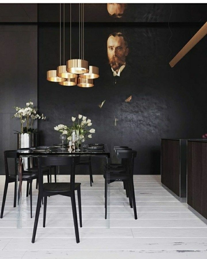 black dining room with portrait mural black beauty dining table rh pinterest com