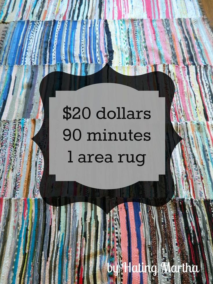 Using inexpensive rag rugs and upholstery thread I created this area rug for my living room. I used the upholstery thread to knot the small rugs together. It is…