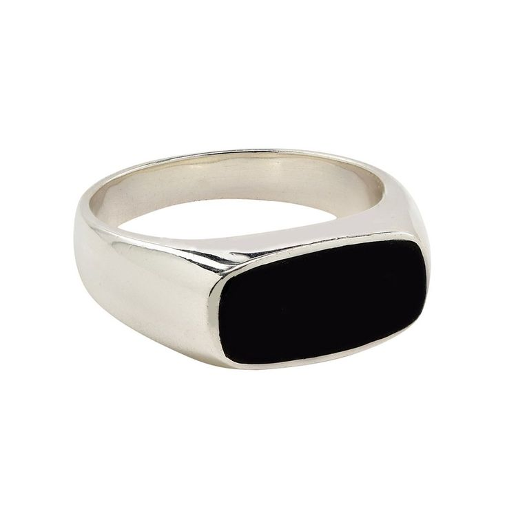 rounded rectangle black jade signet ring in jade and sterling silver .925