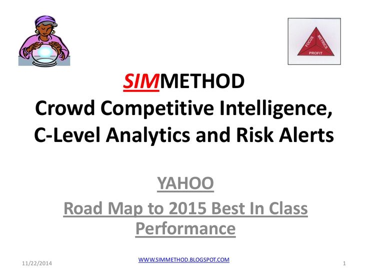 Yahoo, crowd competitive intelligence, clevel analytics and risk alerts by SIMMETHOD via slideshare