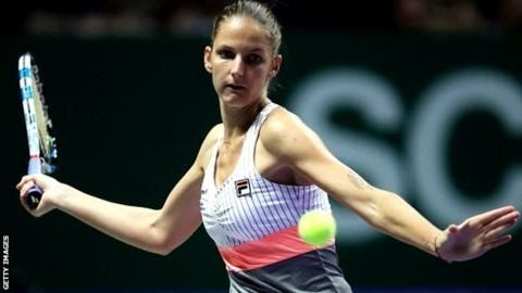 Karolina Pliskova topped the world rankings for the first time earlier this year  Third  seed Karolina Pliskova thrashed Wimbledon champion Garbine Muguruza for  the loss of just four games at the WTA Finals to become the first  player to qualify for the semi-finals.  The Czech 25 won 6-2 6-2 in just 62 minutes to ensure she will win the White Group with one match remaining. Venus Williams earlier overcame French Open champion Jelena Ostapenko 7-5 6-7 (3-7) 7-5 in three hours 13 minutes…
