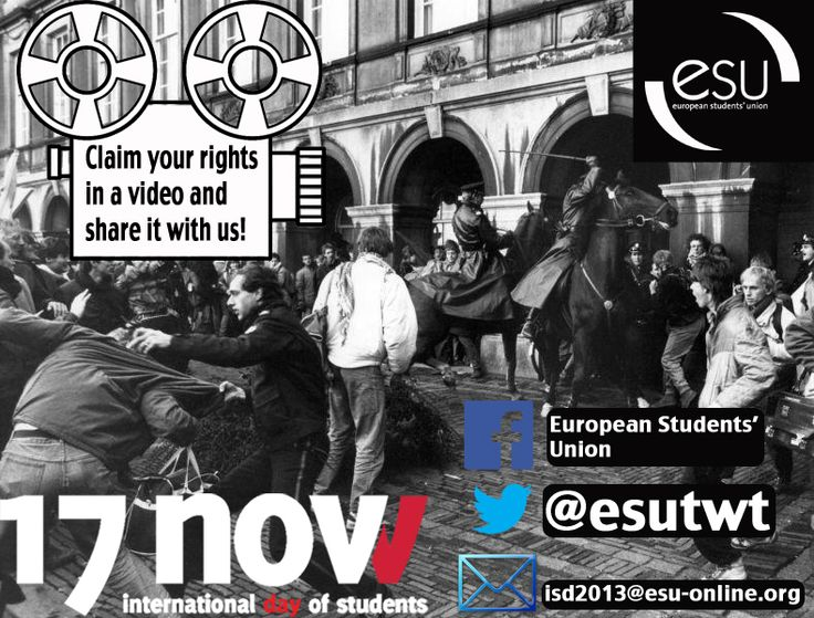 Take action and send your video to us for the International Students' Day #ISD2013 before 13 November! More information here http://www.esu-online.org/news/article/6001/Send-your-videos-to-us-for-the-International-Students-Day/