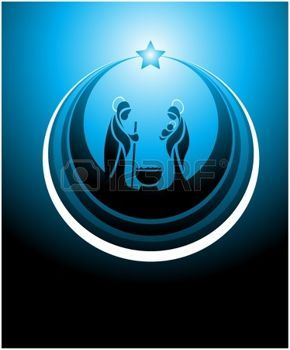 religious christmas: Icon depicting the nativity scene in blue Illustration