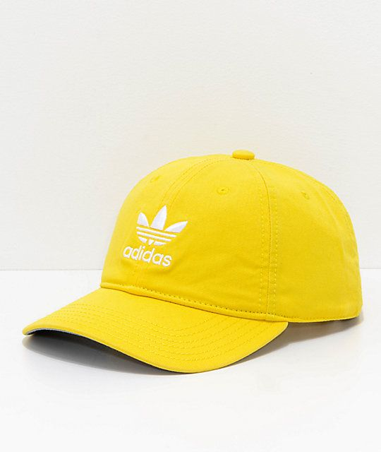 df28dc85612 adidas Originals Relaxed Yellow Strapback Hat in 2019