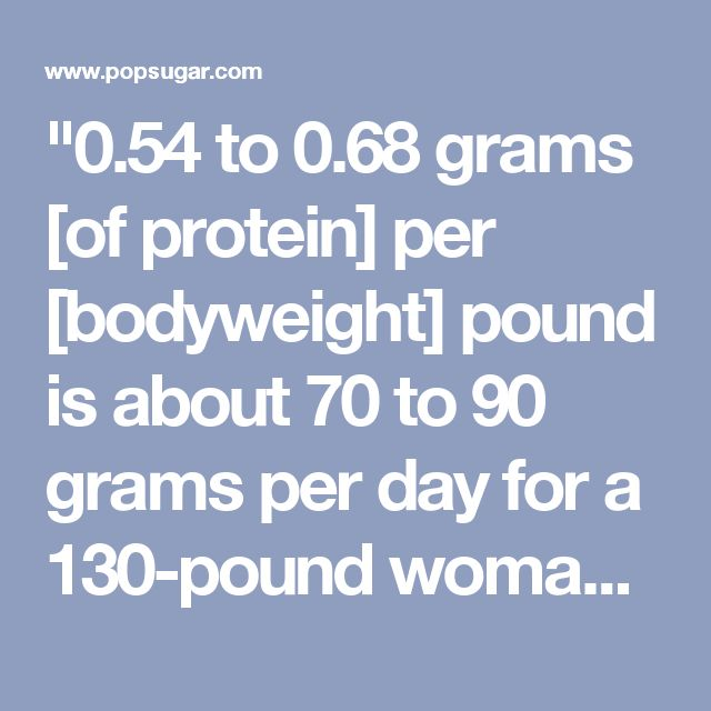 """""""0.54 to 0.68 grams [of protein] per [bodyweight] pound is about 70 to 90 grams per day for a 130-pound woman."""" This shift in added grams of protein will """"help promote lean muscle mass retention during weight loss, particularly when coupled with strength-training exercises,"""" as well as help you better control your appetite."""
