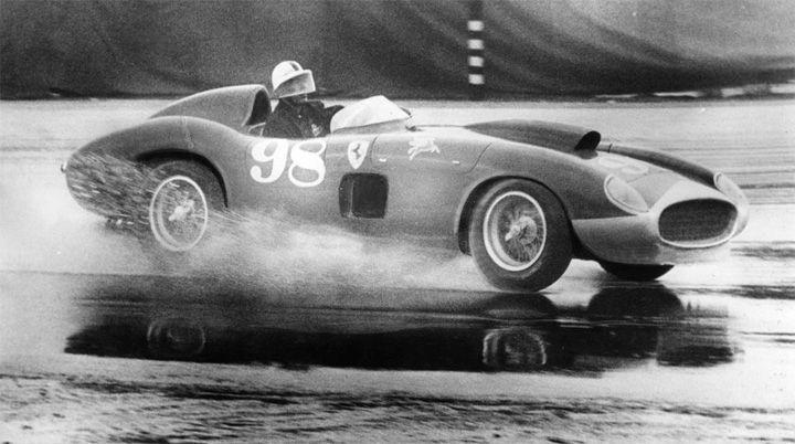 Pomona Fairgrounds, California, 1957. Shelby in Edgar Ferrari 410S that he spun in rain when water splashed up under his helmet visor.