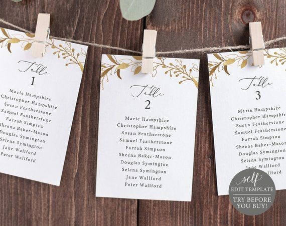 Gold Leaves Editable Instant Download Wedding Seating Chart Template TRY BEFORE You BUY