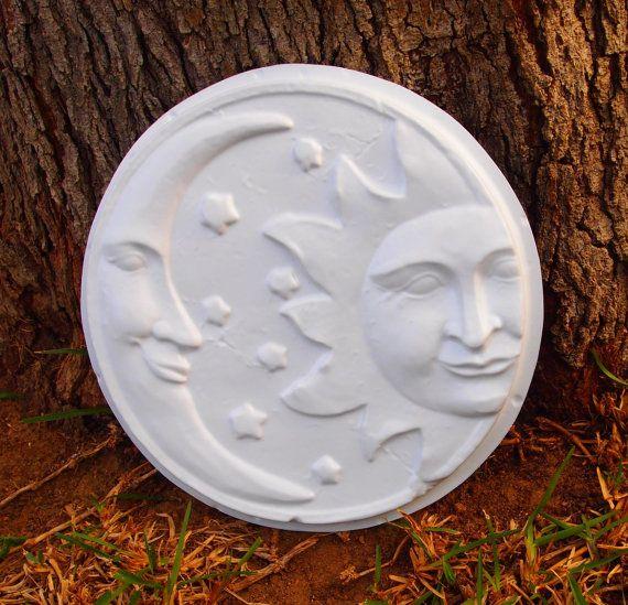 Cement Garden Art: Sun Moon Wall Plaque Mold ABS Plastic Plaster Cement