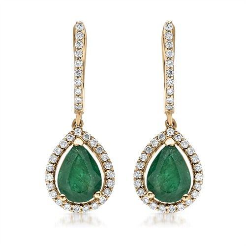 Ørehængere i 14 karats guld med diamanter og dråbeformet smaragder fra Bartoli