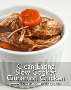 Clean Eating Slow Cooker Cinnamon Chicken. Slow-simmered in cinnamon, cardamom, cloves and coconut milk for a scrumptious Phase 3 meal on the #FastMetabolismDiet