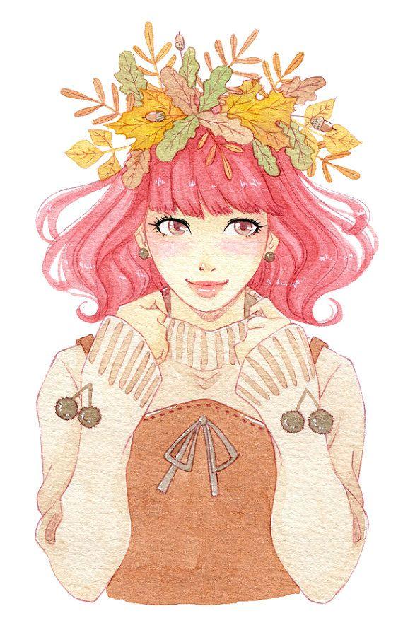 Manga illustration autumn girl portrait autumn decor by milkyink