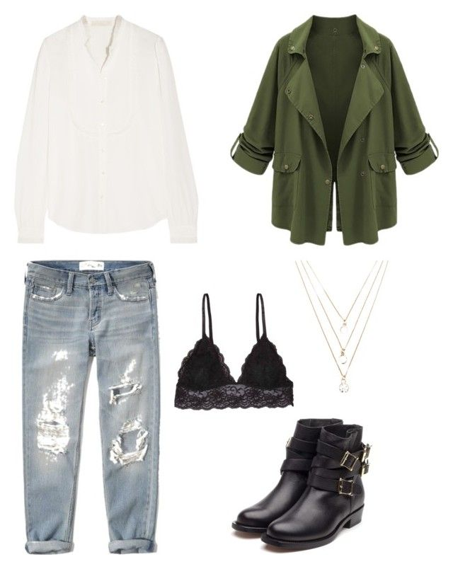 """green olive"" by klaudia-wierzchowiec on Polyvore featuring moda, Abercrombie & Fitch, Vanessa Bruno, Humble Chic, Rupert Sanderson i Forever 21"