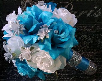 Blue and white bouquet set Blue rose bouquet by artsandcreations