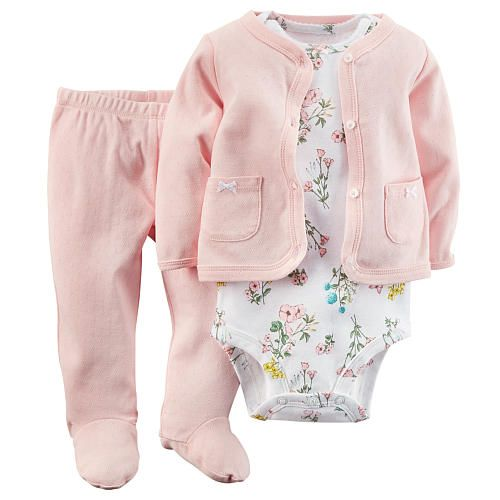 """Carter's Girls 3 Piece Light Pink Pointelle Cardigan, Matching Footed Pant and Packaged White Floral Bodysuit Set - Carters  - Babies""""R""""Us"""