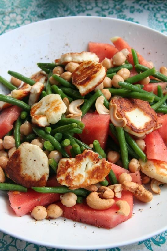 watermelon and halloumi salad
