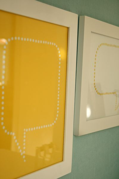 Quote bubbles in frames, great way to remember the funny things we