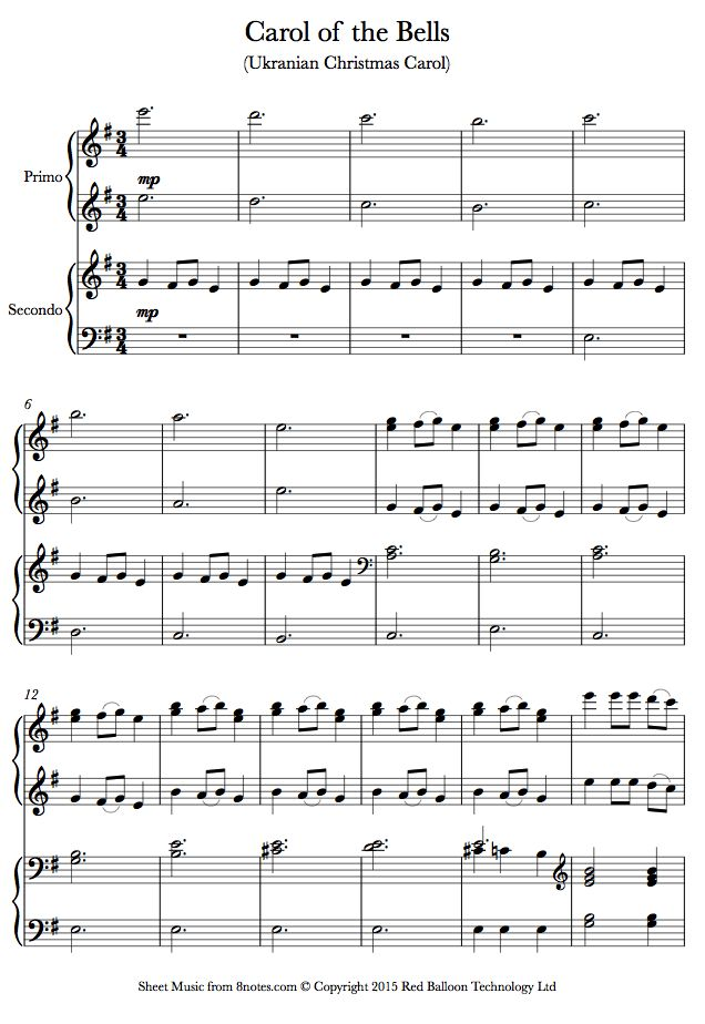 Carol of the Bells sheet music for Piano Duet