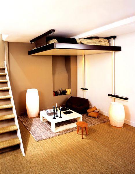 Espace loggia lit mezzanine plateau mobile electrique jour lit escamotable me - Mezzanine espace loggia ...