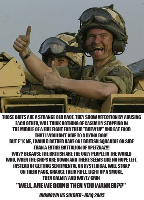 Words of an American soldier about the British Army.