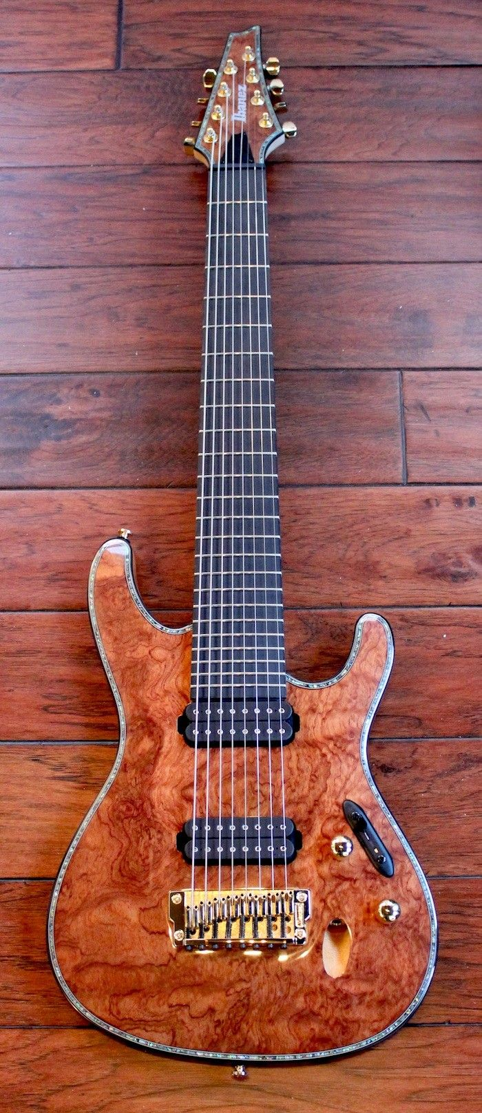 Ibanez SIX28FD-BGNT Iron Label 8-String Guitar DiMarzio Pickups (Natural Bubbinga)