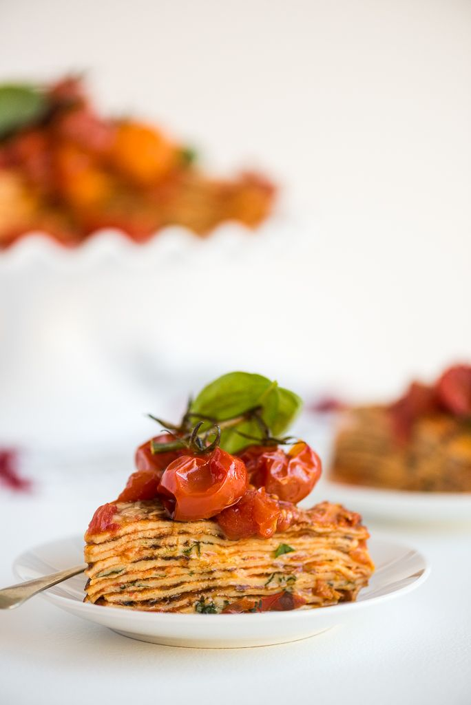 Tomato and Basil Savoury Crepe Cake - Something different yet summery and beautiful to be eaten outdoors, while celebrating