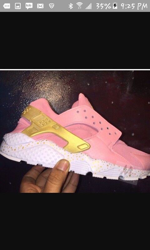 Custom Gold And Pink Huaraches Shoes Pinterest Pink