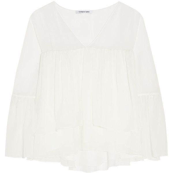 Elizabeth and James - Alanis Tiered Silk-chiffon Blouse ($146) ❤ liked on Polyvore featuring tops, blouses, ivory, white shirt blouse, white slouchy shirt, slouchy shirts, white blouse and boyfriend shirts